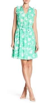Collective Concepts Split Neck Ruffle Trim Print Dress