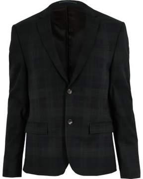River Island Mens Green plaid skinny suit jacket