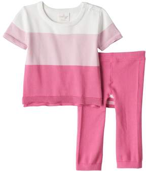 Cuddl Duds Baby Girl Colorblock Knit Top & Pants Set