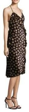 ABS by Allen Schwartz Floral-Print Velvet Wrap Dress