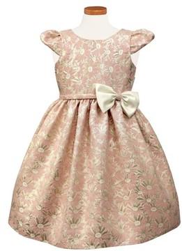 Sorbet Girl's Floral Jacquard Cap Sleeve Dress