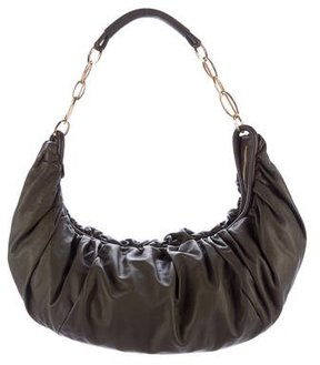 Sergio Rossi Pleated Leather Hobo