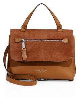 Marc Jacobs Waverly Small Leather & Suede Top-Handle Satchel - MAPLE TAN - STYLE