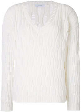 Cruciani textured V-neck jumper
