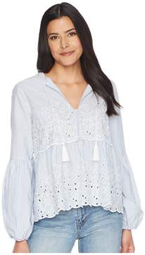 CeCe Balloon Sleeve Embroidered Blouse w/ Neck Tie Women's Blouse