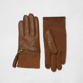 River Island Womens Tan suede tassel zip gloves