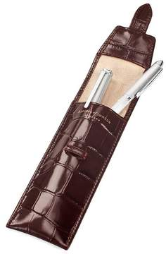 Aspinal of London Small Pen Case In Deep Shine Amazon Brown Croc Stone Suede
