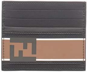 Fendi Black/tobacco Bag Bugs Leather Card Holder