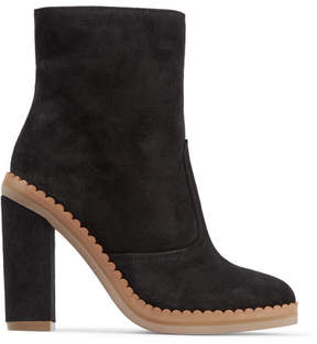 See by Chloe Scalloped Suede Ankle Boots - Black