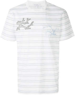 Salvatore Ferragamo logo patch striped T-shirt