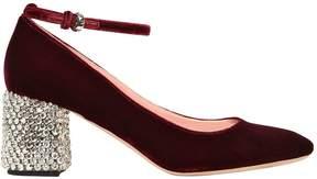 Rochas 6omm Embellished Heel Velvet Pumps