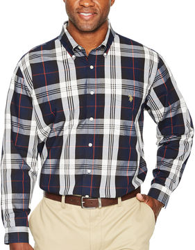 U.S. Polo Assn. Long Sleeve Plaid Button-Front Shirt-Big and Tall