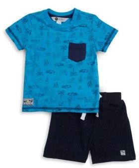Petit Lem Baby's Two-Piece Tropical Beach Tee and Shorts