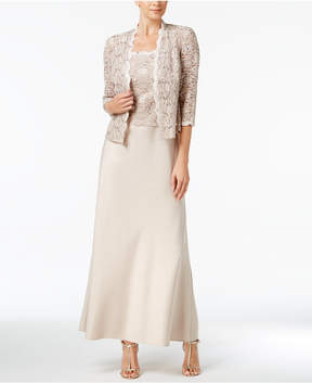 Alex Evenings Sequined Lace & Satin Gown & Jacket