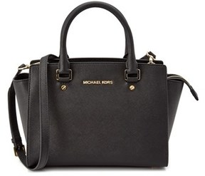 MICHAEL Michael Kors Selma Medium Leather Satchel. - BLACK - STYLE