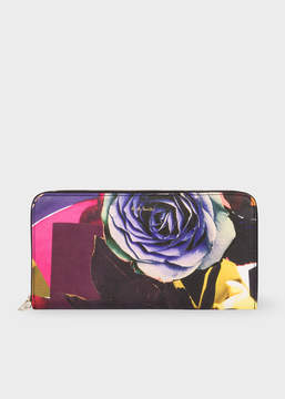 Paul Smith Women's Large 'Rose Collage' Print Leather Zip-Around Wallet