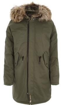 River Island Mens Khaki green faux fur trim hooded parka
