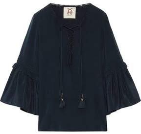 Figue Poet Ruffle-Trimmed Brushed-Silk Blouse