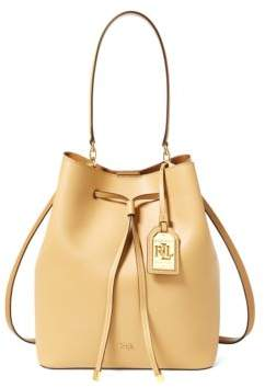 Lauren Ralph Lauren Leather Medium Debby Drawstring Bag