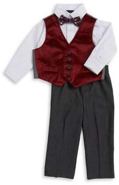 Nautica Baby Boy's Four-Piece Velvet Vest, Button-Down Shirt, Plaid Bow Tie and Pants Set