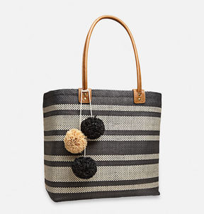 Striped Straw Pom Pom Tote
