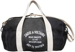 Zadig & Voltaire Printed Denim Effect Cotton Duffle Bag