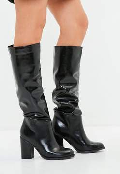 Missguided Faux Leather Knee High Boots Black