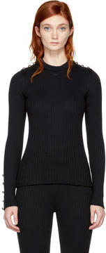 Courreges Black Buttoned Crewneck Sweater