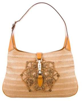Gucci Embroidered Straw Jackie Bag - BROWN - STYLE