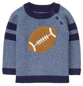 Gymboree Blue Football Applique Crewneck Sweater - Newborn