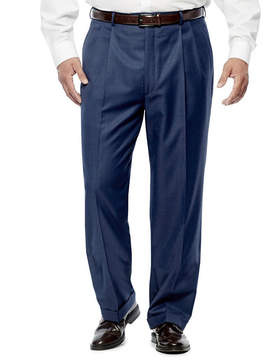 Blend of America STAFFORD Stafford Travel Wool Mid Blue Pleated Pants-Portly