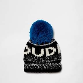 River Island Mini boys blue 'dude' bobble beanie hat