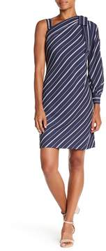 ECI One Shoulder Striped Bow Dress