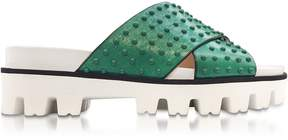 RED Valentino Mint Green Leather Slide Sandals W/studs