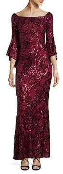 Betsy & Adam Sequined Column Gown
