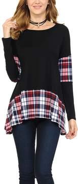 Celeste Black & Red Plaid Sidetail Tunic - Women