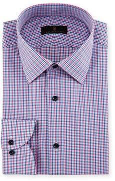 Ike Behar Gold Label Micro-Check Cotton Dress Shirt, Blue/Pink
