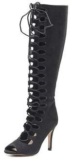 Thalia Sodi Eva Peep-toe Canvas Knee High Boot.