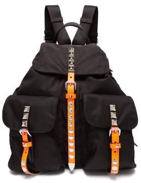 Prada New Vela Studded Nylon Backpack - Womens - Black Orange