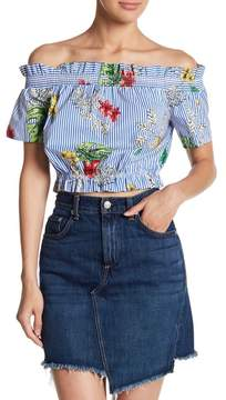 Lush Off-the-Shoulder Floral Ruffle Trim Crop Top