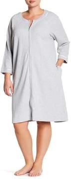 Carole Hochman Long Sleeve Waffle Knit Zip Robe (Plus Size)
