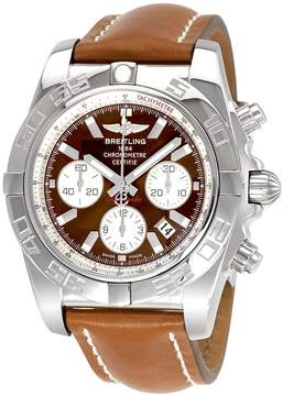 Breitling Chronomat 44 Brown Dial Chronograph Leather Automatic Men's Watch AB011012-Q575BRLT
