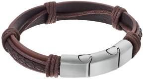 Lynx Men's Stainless Steel & Brown Leather Bracelet