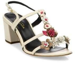 Oscar de la Renta Flower Embellished Lambskin Leather Sandals