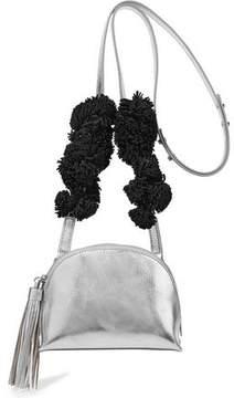 Loeffler Randall Suede-Trimmed Metallic Textured-Leather Shoulder Bag