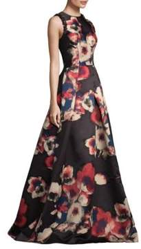 David Meister Floral Jacquard Gown