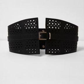 River Island Womens Black laser cut buckle waist belt