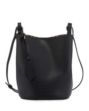 Burberry Lorne Haymarket Small Leather Bag - BLACK - STYLE