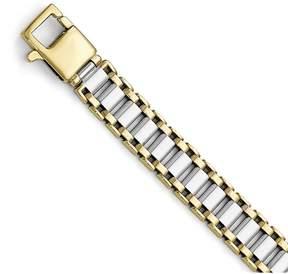 Ice 14k Two-tone Polished Link Mens Bracelet