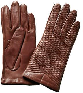 Portolano Cork Crisscross Embroidered Leather Gloves